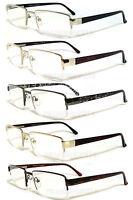 Mens Reader Metal Frame Semi Rimless Spring Temple Reading Glasses - Re34