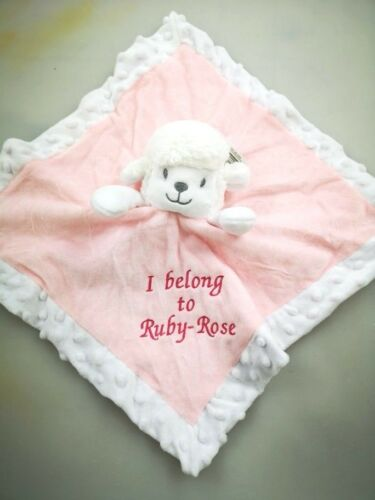Personalised baby soft Lamb couette taggy TAGGIE Tag Couverture Fille Cadeau