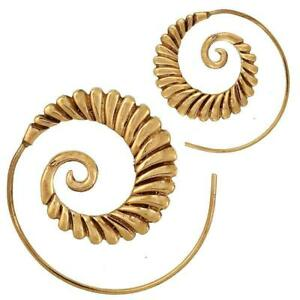 Spiralen-Ohrringe-breit-Tropfen-Segmente-Brass-antik-golden-Tribal-Piercing