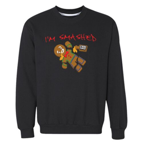 Gingerbread Man I/'m Smashed Santa Ugly Christmas Sweater Funny Cookie Sweatshirt