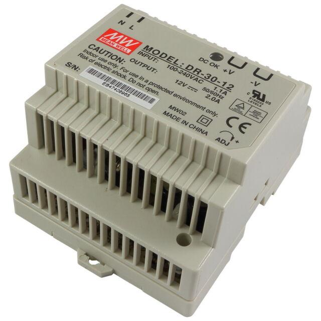 Meanwell DR-30-12 24W 2A 12V Din-Rail Power Supply 100-240V AC-DC12V