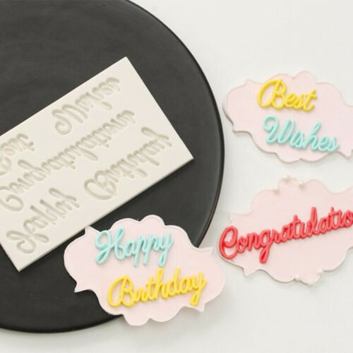 Happy Birthday Letters Fondant Cake Silicone Mold Best Wishes Cake DIY T