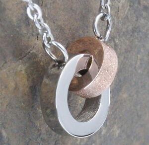 N85-3-Halskette-Edelstahl-316L-Anhaenger-Ringe-Rose-Gold-Damen-Necklace-Pendant