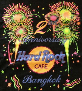 Hard-Rock-Cafe-BANGKOK-1993-2nd-Anniversary-Black-Tee-T-SHIRT-LG-22-034-x-18-034-NICE