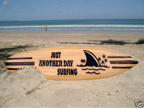 NEW WOODEN 100cm DECORATIVE SURFBOARD BEACH RETRO SURFER CAMPER VAN   su100N13