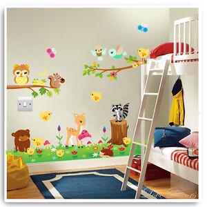 Animal-Owl-Wall-Stickers-Jungle-Zoo-Nursery-Baby-Kids-Bedroom-Decals-Art-Mural