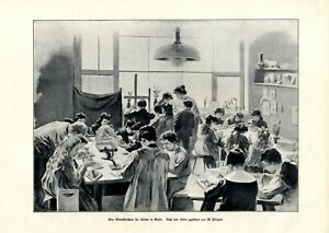 Modellierschule für Kinder XL 1906 Kunstdruck Kunstunterricht Werkunterricht