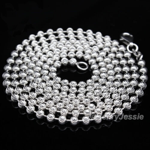 """925 STERLING SILVER 18-30/""""X2MM MOON CUT BEAD CHAIN ICED LETTER /""""M/"""" PENDANT*SP175"""