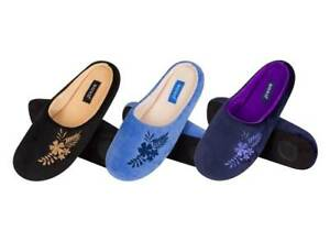 Ladies Gorgeous & Super Soft Embroidered Flower Velvet Fleece Mule Slippers