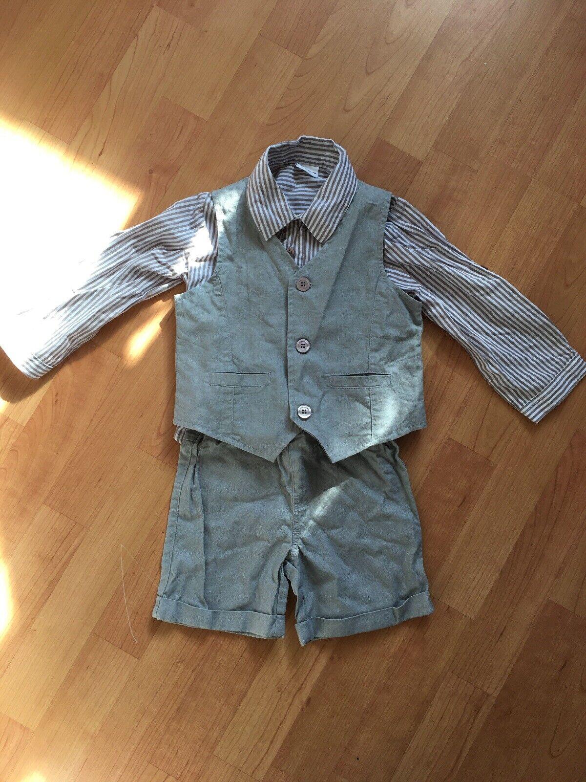 Boys Formal Wedding Linen 3 Piece Shorts, Waistcoat & Shirt in Grey. 2-3 Years