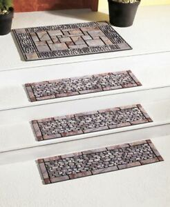 Rubber-Stair-Step-TREADS-MAT-or-DOORMAT-Stone-Pebble-Look-Outdoor-Porch-Traction