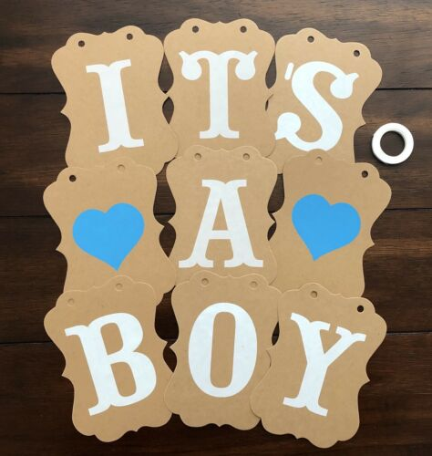 """It's A Boy"" Baby Shower Party Bunting Banner Decoration Blue Hanging Garland"