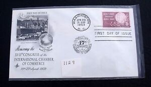 Vintage US Postage FDC #1129 World Peace Through World Trade 8 cent 1958