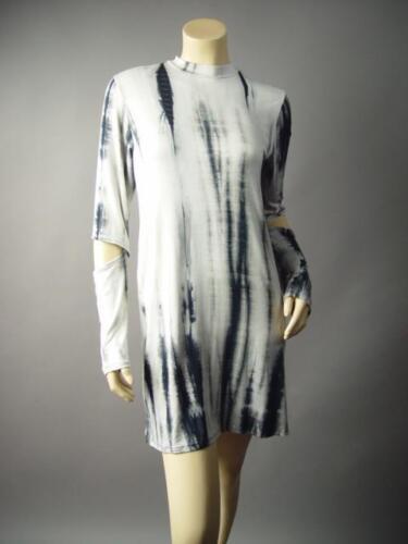 Moody Tie-Dye Dark Boho Elbow Cutout Mock High Neck Pagan 183 mv Dress S M L