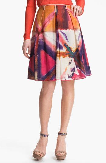Rachel Roy Women's Size 0 Multi color Print Flared Skirt Msrp  398.00