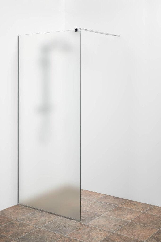 Duschwand Glas satiniert ungetönt 70x200cm Sicherheitsglas ESG Ganzglas