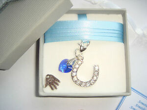 Bride Wedding Horseshoe, Crystal Swarovski Stones & Blue Heart, lucky sixpence