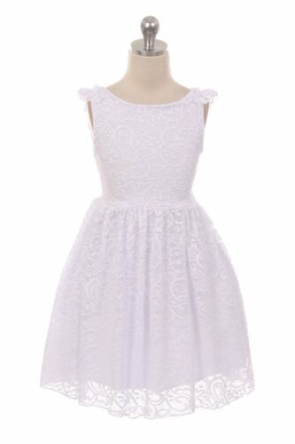 New Girls Aqua Stretch Lace Dress Casual Easter Party Wedding Summer Spring 2088