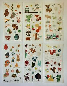 Tiere-6er-Set-Sticker-Aufkleber-Kinder-Schulanfang-Papierbasteln-Deko-matt