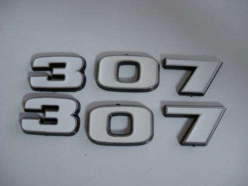 WHITE CHEVROLET 307 ENGINE ID FENDER HOOD SCOOP QUARTER TRUNK EMBLEMS