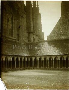 FRANCE-Cloitre-Abbaye-Mont-Saint-Michel-Photo-Stereo-Plaque-Verre-VR10L3n16