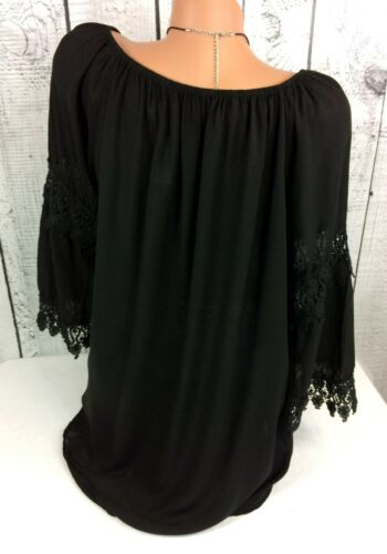 Italia Moda Ibiza Bluse lockere Tunika Häkelspitze Hippie Style weiß Gr 42