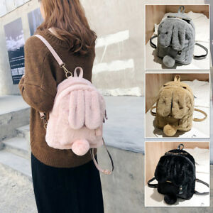 Women-039-s-Faux-Fur-Bunny-Ears-Small-Backpack-Rucksack-Daypack-Travel-Bag-Purse