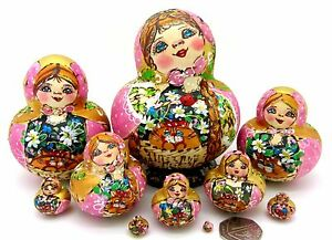 Russian Nesting Dolls Matryoshka 10 HAND PAINTED Pyrography Lilac Pink Mamayeva