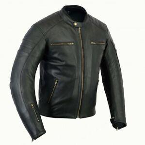 CompéTent Blouson En Cuir Moto, Veste Motard, Cafe Racer, Corse, Sports, Homme, Noir