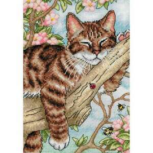 "Gold Petite Napping Kitten Counted Cross Stitch Kit 5""X7"" 18 Coun 088677650902"