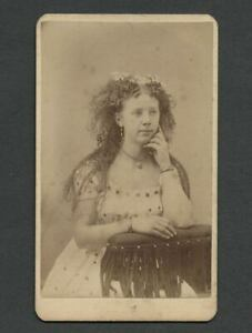 Galva-IL-c-1870s-80s-CDV-Young-Swedish-Girl-with-Curly-Flowered-Hair-Dress