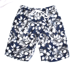 44390c5cb4 Details about New Merona Men's Floral Trunks Swim Shorts Drawstring  Hawaiian Navy Blue White