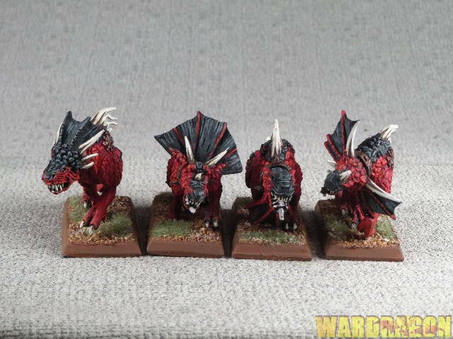 Los Demonios del Caos de Warhammer Wds Pintado carne Hounds de Khorne h93
