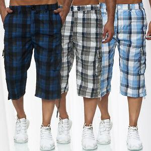 Hommes-Basic-Cargo-Shorts-court-et-aere-Bermudes-pantalon-d-039-ete-3-4-Capri