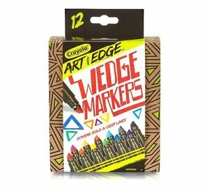 12 Count Crayola Art with Edge Wedge Markers - New in Box - Chisel Tip Assorted