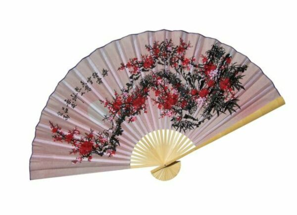 """Original Hand-painted Large 60/"""" Folding Wall Fan Purity Blossoms"""