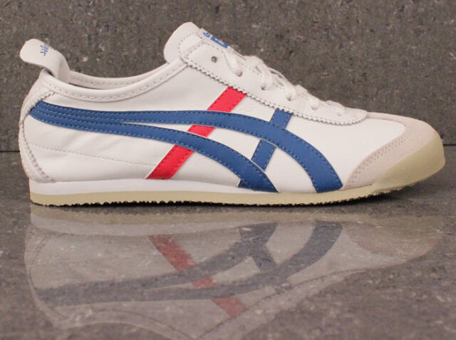 buy online 6e5ef f83fc Onitsuka Tiger Asics Mexico 66 Trainers White Blue Red Leather Ship  Worldwide >