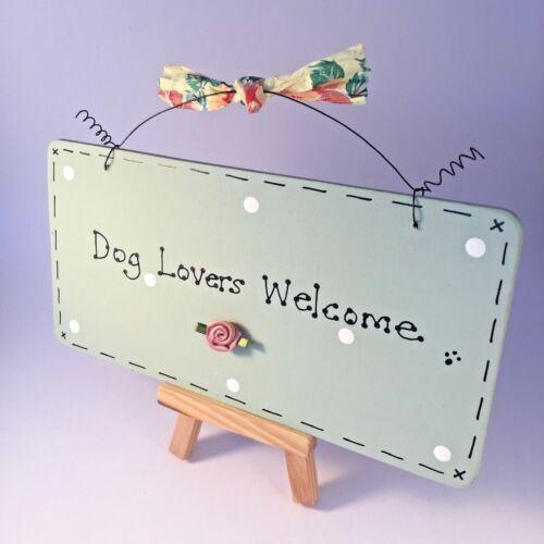 ♥ shabby chic porte fait main Signe Plaque ~ chien ou chat amoureux bienvenue ~ toute couleur