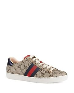 21610c5b154fb NIB Gucci Women s New Ace GG Supreme Canvas Low Top Lace Up Sneakers ...