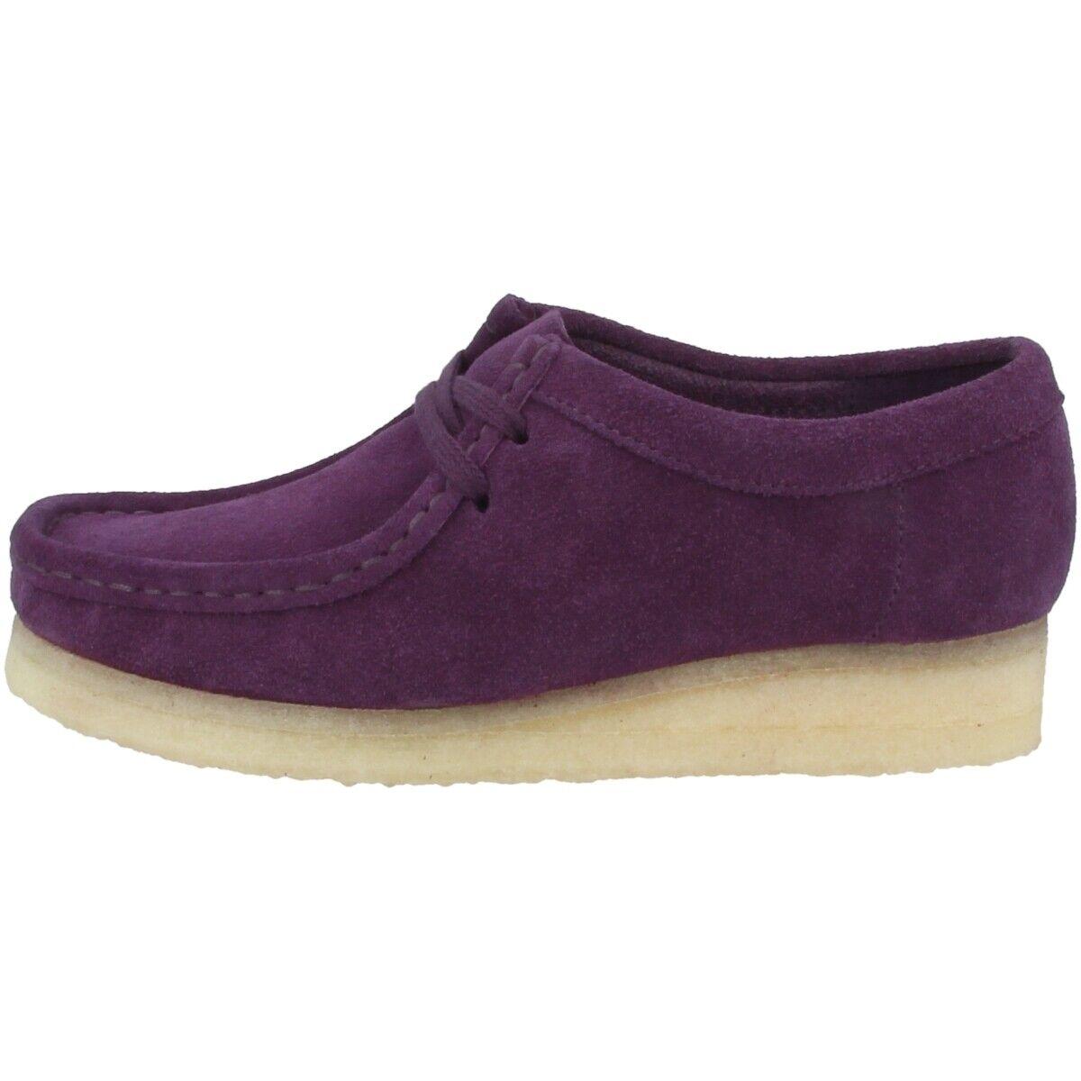 Clarks Wallabee damen Schuhe Damen Halbschuhe Schnürschuhe lila suede 26143815