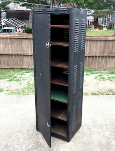 Image Is Loading Vtg Mid Century Steampunk Cabinet Case Locker