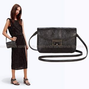 NWT-Marc-Jacobs-Metallic-Leather-Jane-At-The-Disco-Crossbody-Bag-Clutch-Black
