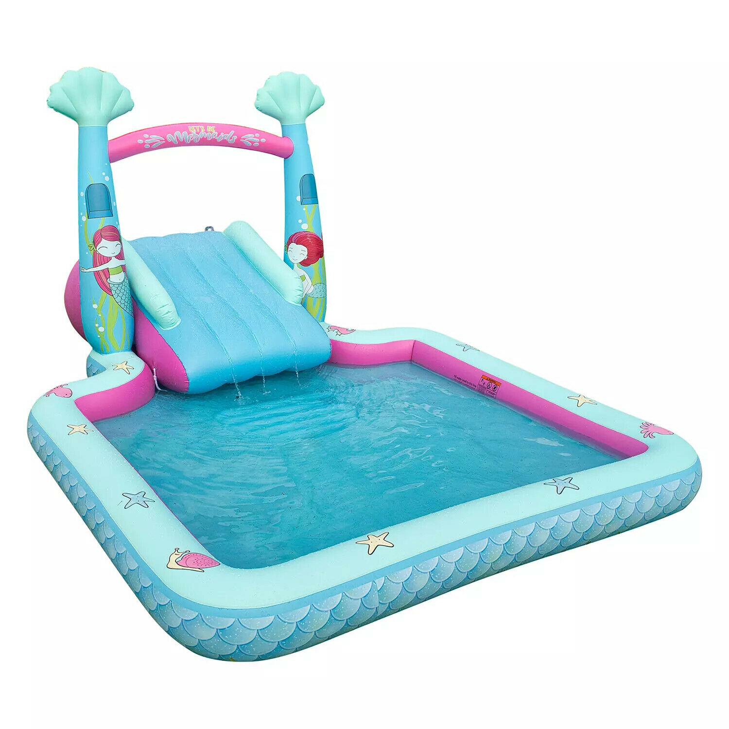 Kid's Mermaid Themed Novelty Pool With A Two-Step Slide & Water Spray Arch