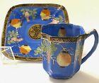 Antique Chinese Porcelain Square GILT Tea Cup Saucer Eggshell LANTERNS Art Deco