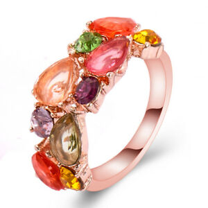 Fashion-Luxury-Women-039-s-Colourful-Rhinestone-Cubic-zirconia-Dazzling-Ring-Jewelry