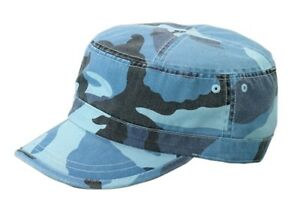 d01472650fae6 Image is loading Enzyme-Washed-Camouflage-Military-Castro-Cap-Sky-Blue-