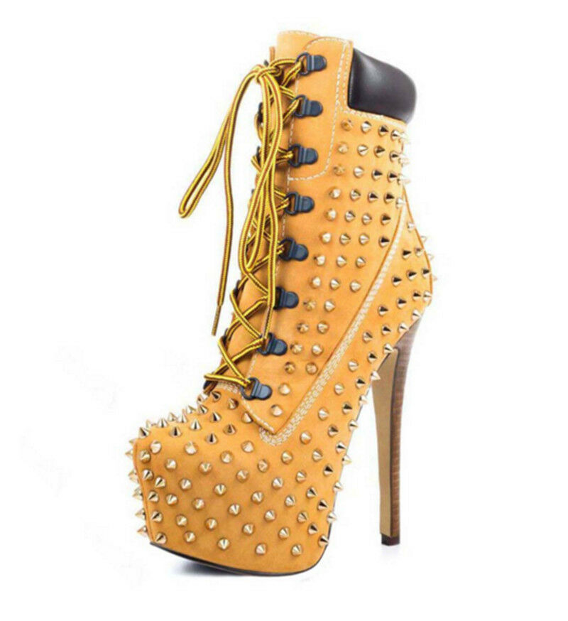 Sexy High heels Damen Neu Schuhe mit Schnürsenkel Plateau Stiefeletten Neu Damen Gr:35-45 a489e1