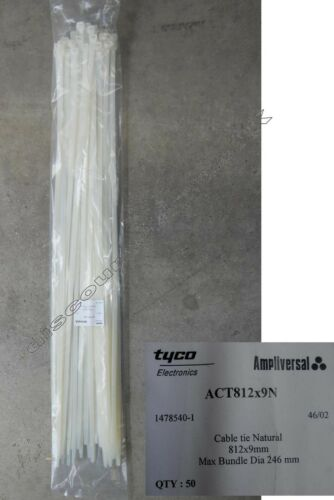 NATURAL 812mm x 9mm *PACK of 50* White 50x Extra LONG /& STRONG CABLE TIES