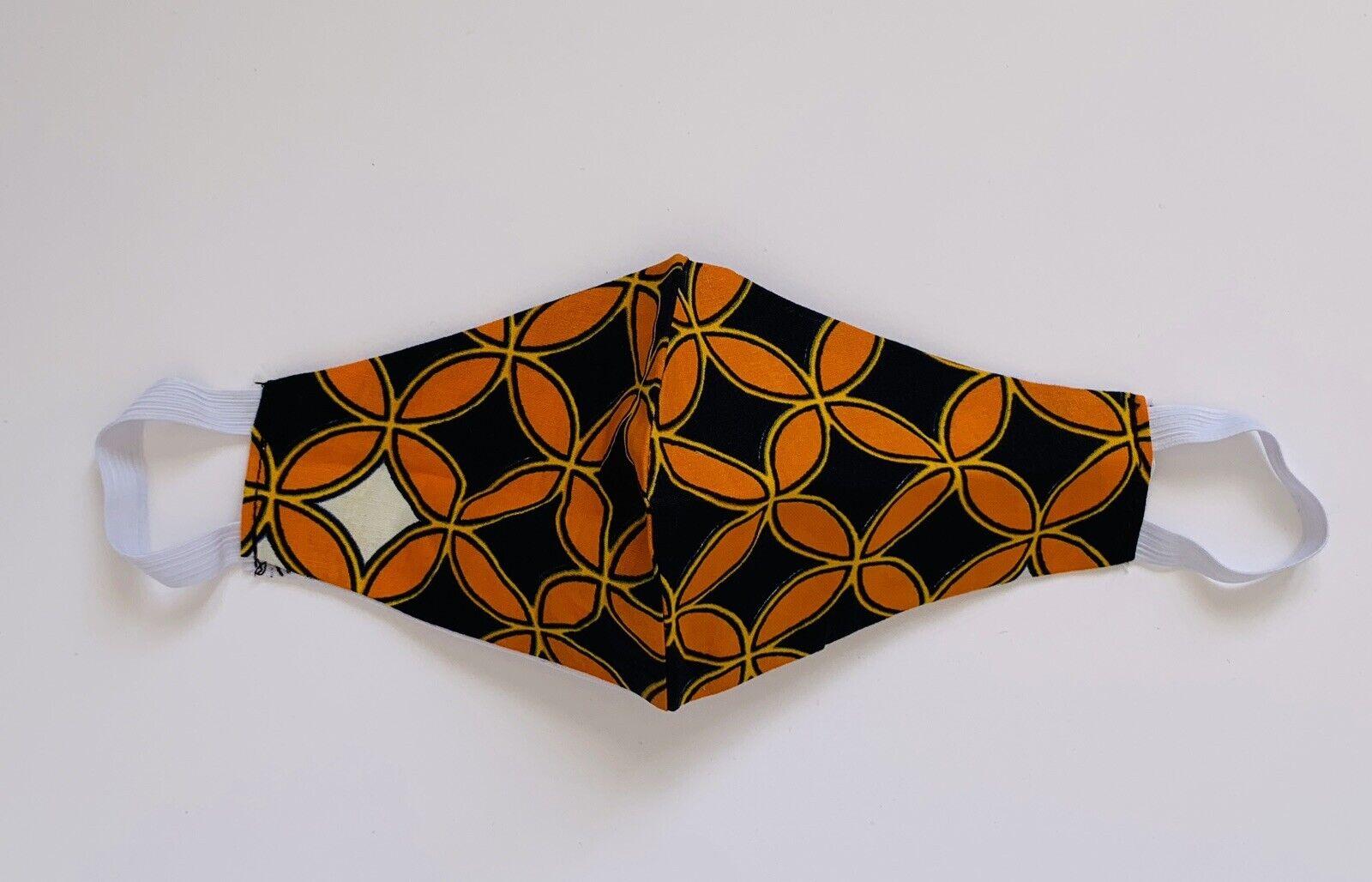 Motherland Fans: Orange Washable Reusable Ankara Cotton Print Face Mask