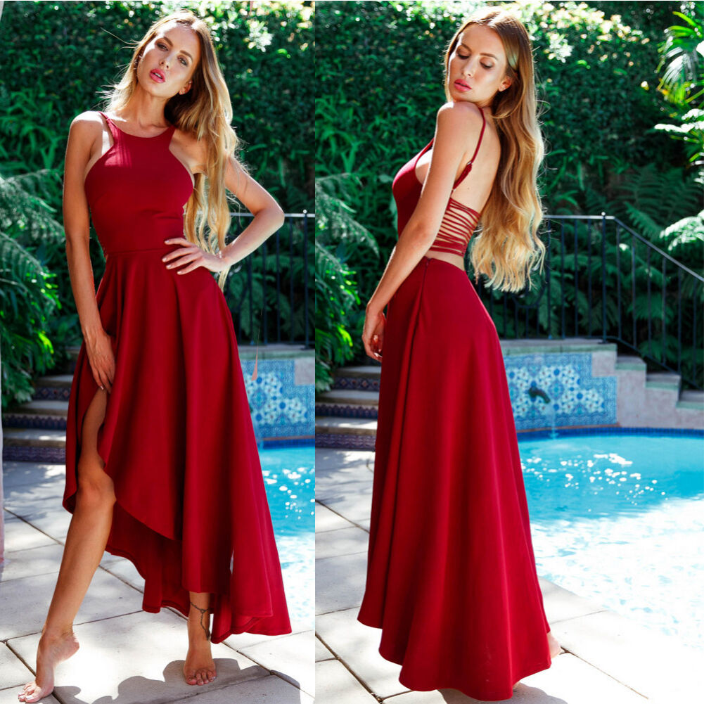 Sleeveless Women Formal Long Ball Gown Party Prom Wedding Evening Dress Red New